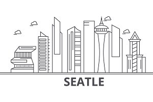 Seattle architecture line skyline illustration. Linear vector cityscape with famous landmarks, city sights, design icons. Landscape wtih editable strokes
