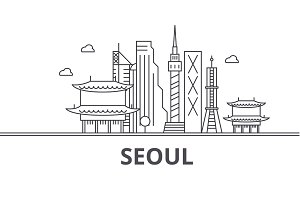 Seoul architecture line skyline illustration. Linear vector cityscape with famous landmarks, city sights, design icons. Landscape wtih editable strokes