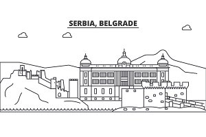 Serbia, Belgrade architecture line skyline illustration. Linear vector cityscape with famous landmarks, city sights, design icons. Landscape wtih editable strokes