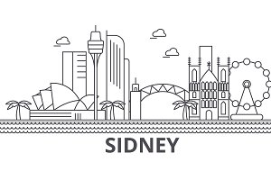 Sidney architecture line skyline illustration. Linear vector cityscape with famous landmarks, city sights, design icons. Landscape wtih editable strokes