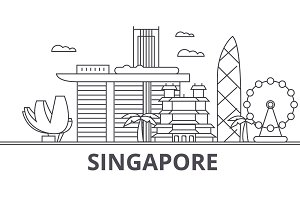 Singapore architecture line skyline illustration. Linear vector cityscape with famous landmarks, city sights, design icons. Landscape wtih editable strokes