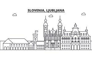 Slovenia, Ljubljana architecture line skyline illustration. Linear vector cityscape with famous landmarks, city sights, design icons. Landscape wtih editable strokes
