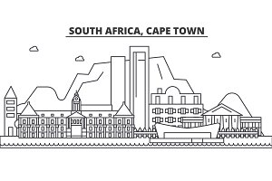 South Africa, Cape Town architecture line skyline illustration. Linear vector cityscape with famous landmarks, city sights, design icons. Landscape wtih editable strokes
