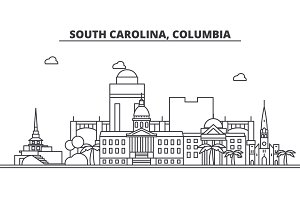 South California, Columbia architecture line skyline illustration. Linear vector cityscape with famous landmarks, city sights, design icons. Landscape wtih editable strokes