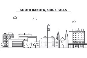 South Dakota, Sioux Falls architecture line skyline illustration. Linear vector cityscape with famous landmarks, city sights, design icons. Landscape wtih editable strokes