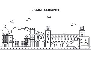 Spain, Alicante architecture line skyline illustration. Linear vector cityscape with famous landmarks, city sights, design icons. Landscape wtih editable strokes