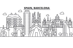 Spain, Barcelona architecture line skyline illustration. Linear vector cityscape with famous landmarks, city sights, design icons. Landscape wtih editable strokes