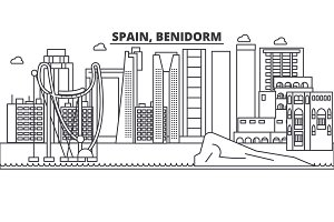 Spain, Benidorm architecture line skyline illustration. Linear vector cityscape with famous landmarks, city sights, design icons. Landscape wtih editable strokes