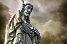 Christ Statue and clouds background