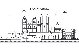 Spain, Cadiz architecture line skyline illustration. Linear vector cityscape with famous landmarks, city sights, design icons. Landscape wtih editable strokes
