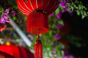 red silk lanterns