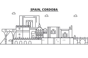 Spain, Cordoba architecture line skyline illustration. Linear vector cityscape with famous landmarks, city sights, design icons. Landscape wtih editable strokes
