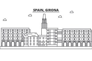 Spain, Girona architecture line skyline illustration. Linear vector cityscape with famous landmarks, city sights, design icons. Landscape wtih editable strokes
