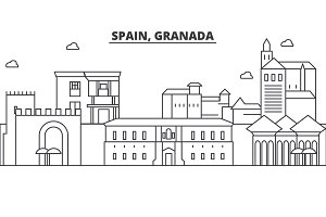 Spain, Granada architecture line skyline illustration. Linear vector cityscape with famous landmarks, city sights, design icons. Landscape wtih editable strokes
