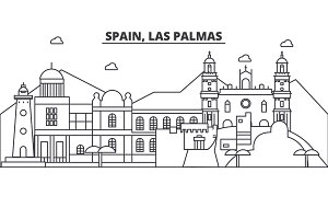 Spain, Las Palmas architecture line skyline illustration. Linear vector cityscape with famous landmarks, city sights, design icons. Landscape wtih editable strokes