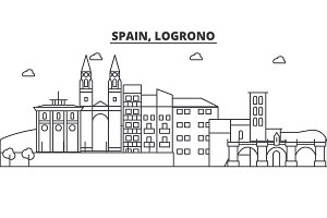 Spain, Logrono architecture line skyline illustration. Linear vector cityscape with famous landmarks, city sights, design icons. Landscape wtih editable strokes
