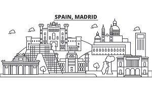 Spain, Madrid architecture line skyline illustration. Linear vector cityscape with famous landmarks, city sights, design icons. Landscape wtih editable strokes