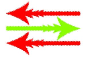Three red and green arrows