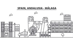 Spain, Malaga, Andalusia architecture line skyline illustration. Linear vector cityscape with famous landmarks, city sights, design icons. Landscape wtih editable strokes