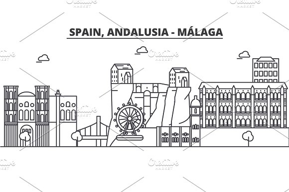 Spain Malaga Andalusia Architecture Line Skyline Illustration Linear Vector Cityscape With Famous Landmarks City Sights Design Icons Landscape Wtih Editable Strokes