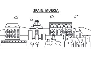 Spain, Murcia architecture line skyline illustration. Linear vector cityscape with famous landmarks, city sights, design icons. Landscape wtih editable strokes
