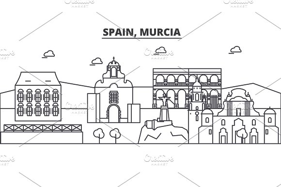 Spain Murcia Architecture Line Skyline Illustration Linear Vector Cityscape With Famous Landmarks City Sights Design Icons Landscape Wtih Editable Strokes