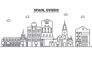 Spain, Oviedo architecture line skyline illustration. Linear vector cityscape with famous landmarks, city sights, design icons. Landscape wtih editable strokes