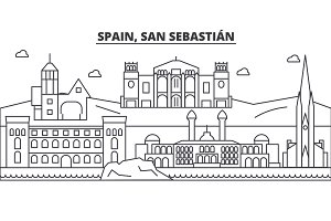 Spain, San Sebastian architecture line skyline illustration. Linear vector cityscape with famous landmarks, city sights, design icons. Landscape wtih editable strokes