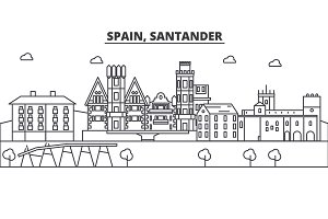 Spain, Santander architecture line skyline illustration. Linear vector cityscape with famous landmarks, city sights, design icons. Landscape wtih editable strokes