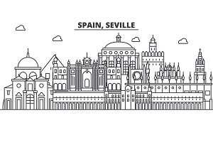 Spain, Seville architecture line skyline illustration. Linear vector cityscape with famous landmarks, city sights, design icons. Landscape wtih editable strokes