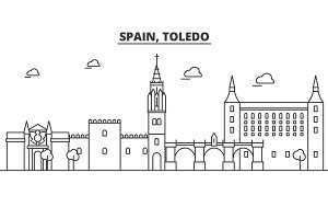 Spain, Toledo architecture line skyline illustration. Linear vector cityscape with famous landmarks, city sights, design icons. Landscape wtih editable strokes