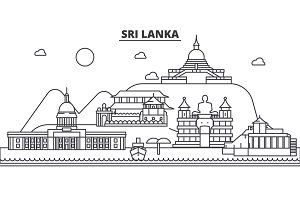Sri Lanka architecture line skyline illustration. Linear vector cityscape with famous landmarks, city sights, design icons. Landscape wtih editable strokes
