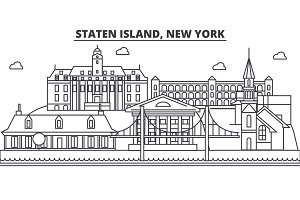Staten Island, New York architecture line skyline illustration. Linear vector cityscape with famous landmarks, city sights, design icons. Landscape wtih editable strokes