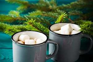 Hot chocolate on dark green. Christmas drink