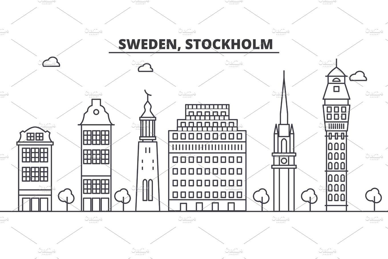 Sweden, Stockholm architecture line skyline illustration