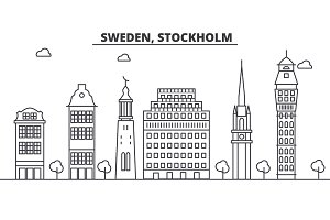 Sweden, Stockholm architecture line skyline illustration. Linear vector cityscape with famous landmarks, city sights, design icons. Landscape wtih editable strokes
