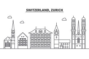 Switzerland, Zurich architecture line skyline illustration. Linear vector cityscape with famous landmarks, city sights, design icons. Landscape wtih editable strokes