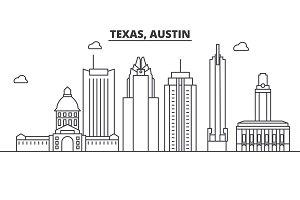 Texas Austin architecture line skyline illustration. Linear vector cityscape with famous landmarks, city sights, design icons. Landscape wtih editable strokes