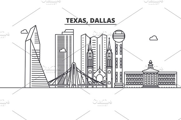 Texas Dallas Architecture Line Skyline Illustration Linear Vector Cityscape With Famous Landmarks City Sights Design Icons Landscape Wtih Editable Strokes