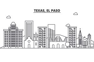 Texas El Paso architecture line skyline illustration. Linear vector cityscape with famous landmarks, city sights, design icons. Landscape wtih editable strokes