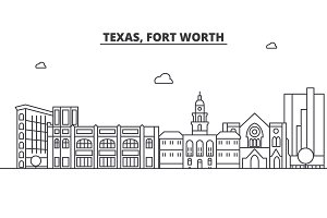 Texas Fort Worth architecture line skyline illustration. Linear vector cityscape with famous landmarks, city sights, design icons. Landscape wtih editable strokes