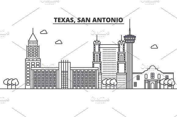 Texas San Antonio architecture line skyline illustration. Linear vector cityscape with famous landmarks, city sights, design icons. Landscape wtih editable strokes
