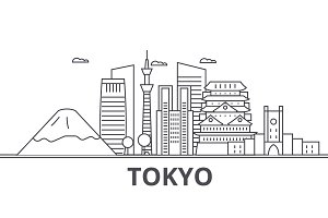 Tokyo Japan architecture line skyline illustration. Linear vector cityscape with famous landmarks, city sights, design icons. Landscape wtih editable strokes