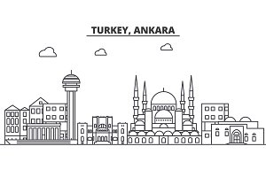 Turkey, Ankara architecture line skyline illustration. Linear vector cityscape with famous landmarks, city sights, design icons. Landscape wtih editable strokes