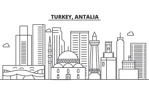 Turkey, Antalia architecture line skyline illustration. Linear vector cityscape with famous landmarks, city sights, design icons. Landscape wtih editable strokes