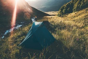 Tent camping at Mountains Landscape