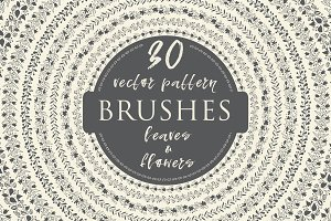 30 Hand-drawn Floral Vector Brushes
