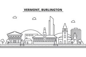 Vermont, Burlington architecture line skyline illustration. Linear vector cityscape with famous landmarks, city sights, design icons. Landscape wtih editable strokes