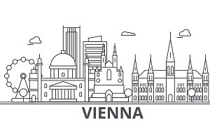 Vienna architecture line skyline illustration. Linear vector cityscape with famous landmarks, city sights, design icons. Landscape wtih editable strokes