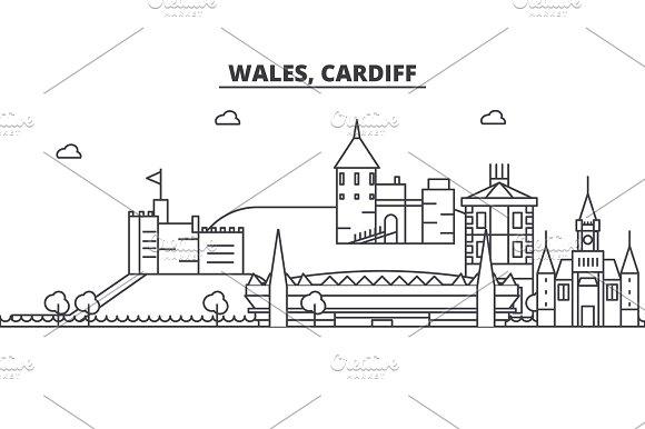 Wales Cardiff Architecture Line Skyline Illustration Linear Vector Cityscape With Famous Landmarks City Sights Design Icons Landscape Wtih Editable Strokes